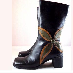 Clarks Indigo Boots Black Leather Mid-Calf Flower
